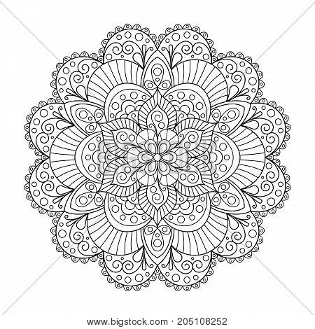 Uncolored Patterned Outline Mandala. Design Element Mandala for Page of Coloring Book.