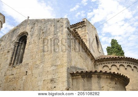 Upper part of the romanic church of Saint Vicent in Besalu a town in the comarca of Garrotxa in Girona Catalonia Spain.