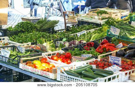 Rome Italy February 11 2017: vegetables stall in historical Campo De fiori Market in rome