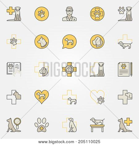 Dog veterinary colorful icons - vector collection of creative pet signs for veterinary clinic