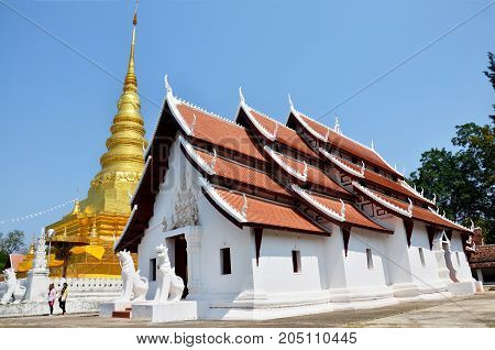 Buddha Relics In Golden Chedi Of Wat Phra That Chae Haeng Temple