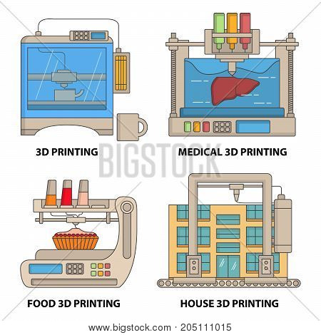 Vector 3d printer flat thin line icon set. Ceramics, medical, food and house 3d printing technologies concept design elements isolated on white background.