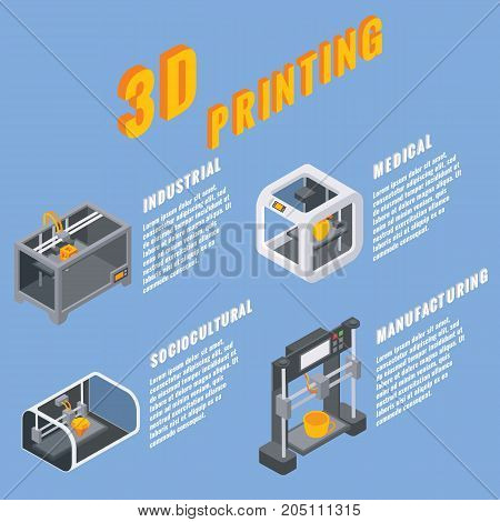 3D printing applications concept vector illustration. Industrial, medical, sociocultural and manufacturing 3d printing concept isometric style design elements, icons.