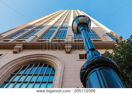 Atlanta Georgia USA - January 12 2016: Bottom view of a streetlight and
