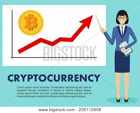 Businesswoman and graph with trend line rising up and coin with a sign of bitcoin in flat style isolated. Bitcoin sign, digital currency, cryptocurrency, electronic money. Cryptocurrency concept. Bitcoin mining, exchange, mobile banking.