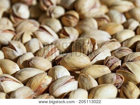 Close up of fresh pistashio nuts, background