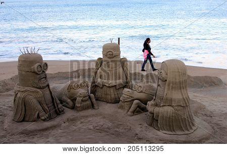 Puerto Vallarta, Mexico - December 19, 2013: Sand sculpture built on the shore of Puerto Vallarta, Mexico.