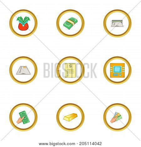 Atm icons set. Cartoon style set of 9 atm vector icons for web design