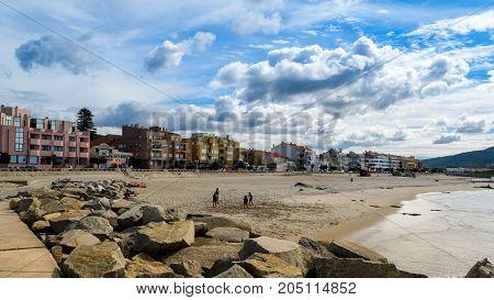Vila Praia de Ancora Portugal - September 17 2017 : Playing on the beach Vila Praia de Ancora Portugal