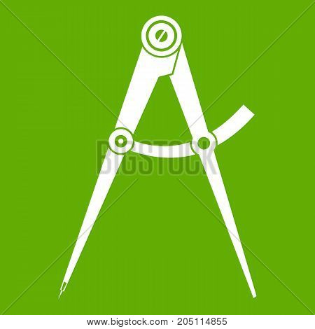 Compass tool icon white isolated on green background. Vector illustration