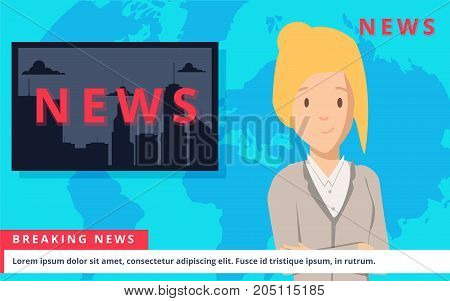 News Anchor on TV Breaking News background. vector illustration in flat design. Channel studio