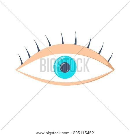 Eye icon. Simple eye vector illustration with double reflection in pupil. Round flare. Medicine symbol isolated. Safety and search concept. Laconic graphic design element. Eyesight pictogram. Isolated on white. Eye vector.