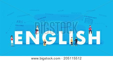 English word for education with icons flat design. Vector polyglot typographical wordcloud with mutiple words pertaining to language, study, dialogue and translation, in different sized fonts and different orientations
