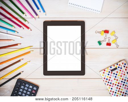 Tablet computer mock up template for business presentations and apps design
