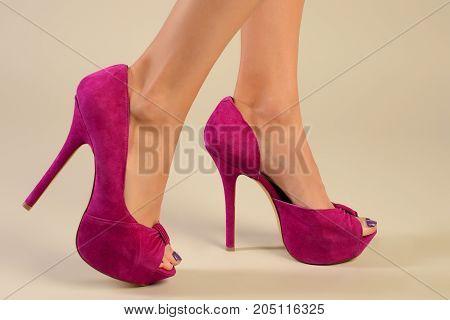 Sexy Beauty Long Woman Legs Wearing Fashion High Heel Shoes