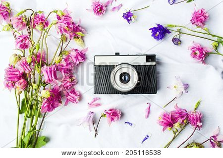 Vintage Camera And Colorful Flowers