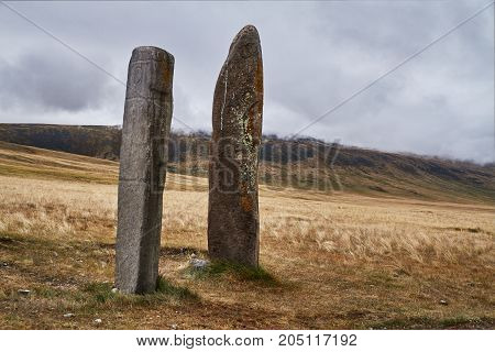 Ritual Stones For Sacrifices To The Gods. The Ukok Plateau Of Altai. Fabulous Cold Landscapes. Anyon