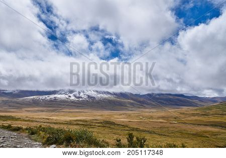 Cold Autumn Landscape In Siberia, The Onset Of Winter. The Ukok Plateau Of Altai. Fabulous Cold Land