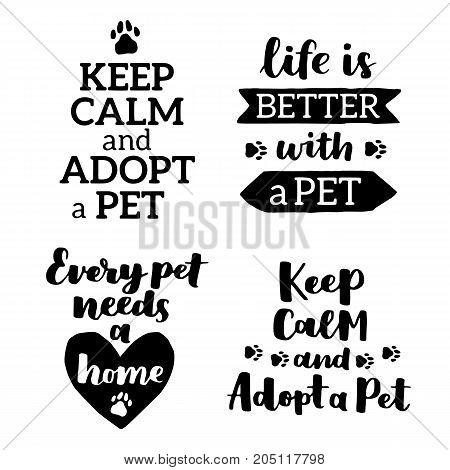 Vector Lettering Set With Saying About Pet Adoption. Don't Shop, Adopt. Modern Calligraphy Phrases O