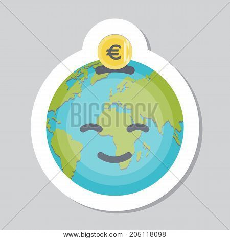 Donate button, sticker with Earth emoji, coin, euro sign. Earth emoticon. Help gold and blue icon donation. Gift charity. Isolated element. Contribute, contribution, give money, giving symbol. Vector