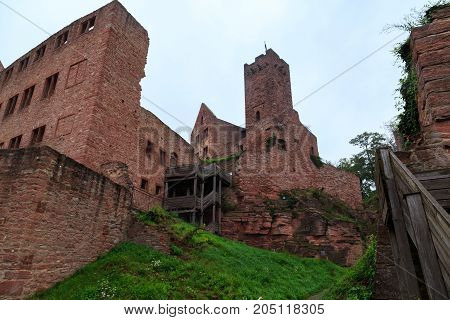 Ancient castle Wertheim. View from inside on the ruined fortress walls against the sky. Germany. Tourist attraction