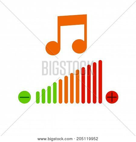 Music volume adjustment icon. Vector illustration. Musical sign.