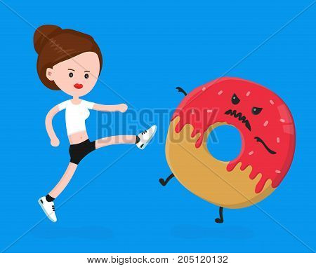 Young angry sport fitness shapely woman kick donut.Vector modern flat style cartoon character illustration. Isolated on white background.healthy eating, overweight concept