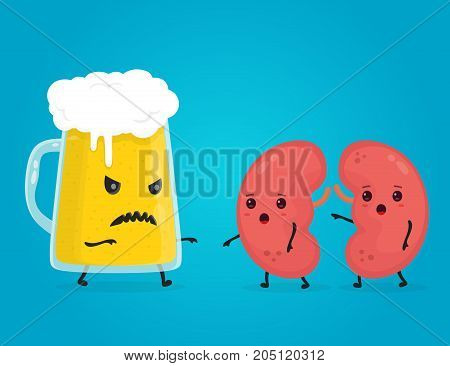 alcohol kill kidneys. Stop drink concept. Angry scary glass of beer kill kidneys. Vector flat cartoon character illustration. Isolated on white background