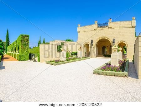 ACRE, ISRAEL - SEPTEMBER 18, 2017: The entrance to the Bahai gardens in Acre (Akko) Israel