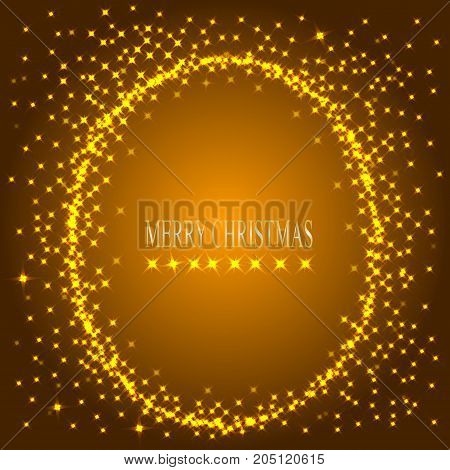Gold background with round frame from stars. Illustration for holidays merry christmas and new year.