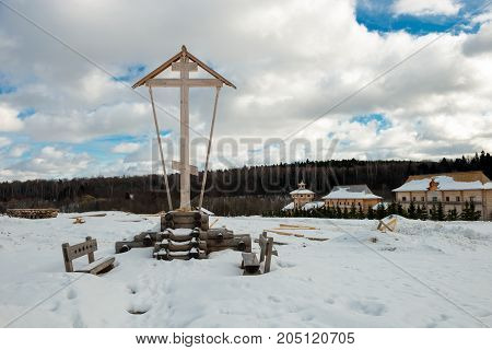 Holy spring gremyachiy Klyuch. Memorial cross at Calvary Svyatogorye. Moscow region Sergiev Posad district village Vzglyadnevo