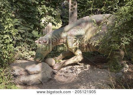 Kemer; Turkey-August 14; 2017: Maiasaura- Late Cretaceous /74 million years ago. In the Dinopark