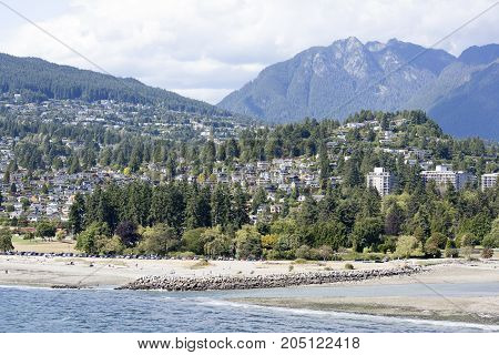 The view of a beach in West Vancouver residential district (Vancouver British Columbia).