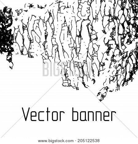 Connected dot and lines with noise background. Collapse structure technology design, dot clusters vector banner