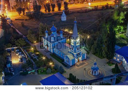 Night aerial view to the blue Church in honor of the Assumption of the Blessed Virgin Mary, Voronezh, Russia