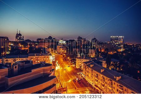 Night city Voronezh, view from roof top, toned