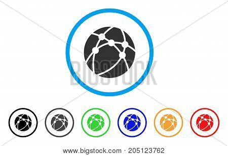Browser rounded icon. Style is a flat browser grey symbol inside light blue circle with black, gray, green, blue, red, orange variants. Vector designed for web and software interfaces.