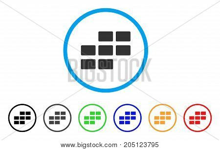 Calendar Rectangle Grid rounded icon. Style is a flat calendar rectangle grid grey symbol inside light blue circle with black, gray, green, blue, red, orange color versions.