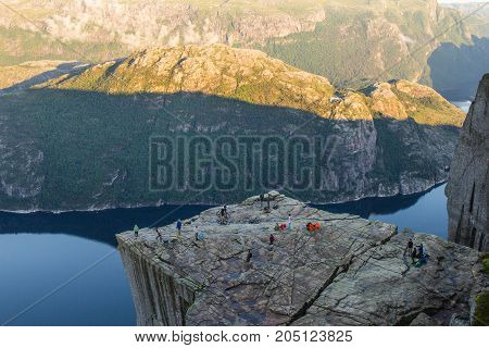 Preikestolen Or Prekestolen Or Preacher's Pulpit Or Pulpit Rock, Is A Famous Tourist Attraction In F