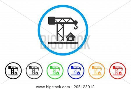 Construction Crane rounded icon. Style is a flat construction crane grey symbol inside light blue circle with black, gray, green, blue, red, orange variants.