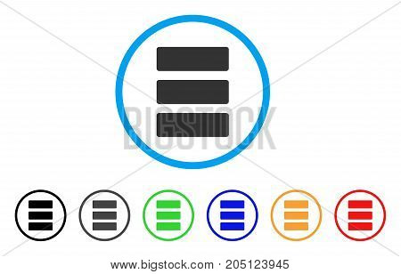 Database rounded icon. Style is a flat database grey symbol inside light blue circle with black, gray, green, blue, red, orange variants. Vector designed for web and software interfaces.