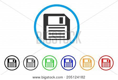 Floppy Disk rounded icon. Style is a flat floppy disk gray symbol inside light blue circle with black, gray, green, blue, red, orange color versions. Vector designed for web and software interfaces.