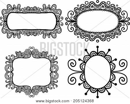 Hand drawn digital doodle frame borders with copyspace for text.