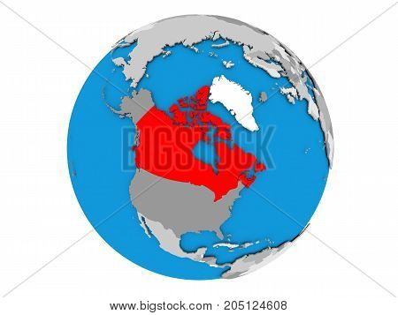 Canada On Globe Isolated