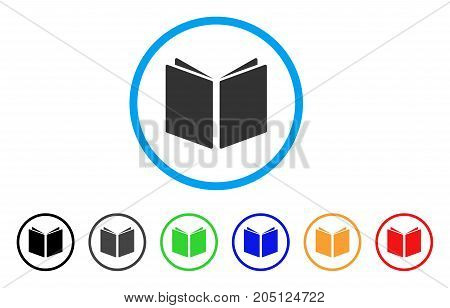 Open Book rounded icon. Style is a flat open book gray symbol inside light blue circle with black, gray, green, blue, red, orange color versions. Vector designed for web and software interfaces.