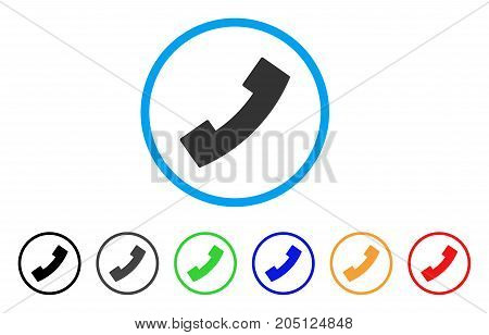 Phone Receiver rounded icon. Style is a flat phone receiver grey symbol inside light blue circle with black, gray, green, blue, red, orange variants. Vector designed for web and software interfaces.