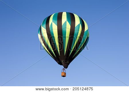 Colorful hot air balloon seen from below. Classic balloon design with lots of detail.