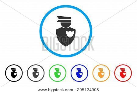 Policeman rounded icon. Style is a flat policeman gray symbol inside light blue circle with black, gray, green, blue, red, orange variants. Vector designed for web and software interfaces.