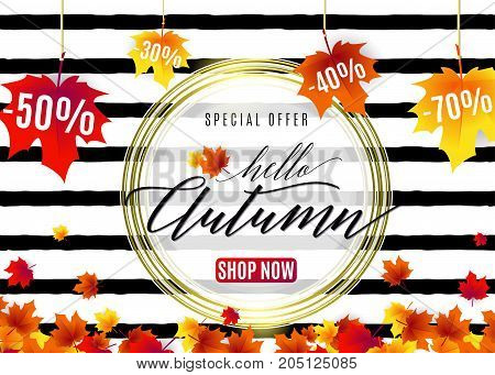 Vector illustration of fashion hello autumn sale poster with white round geometric frame, golden lines, text sign 50, 70, 30 percent off, falling red maple leaves on seamless rough stripes background