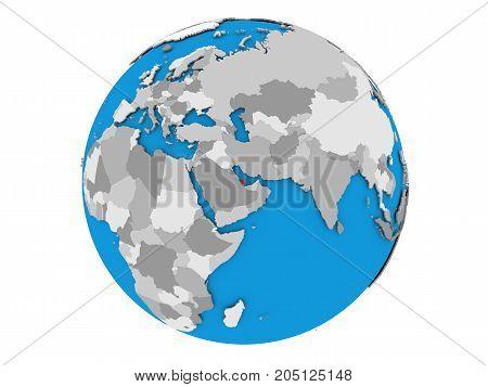 Qatar On Globe Isolated